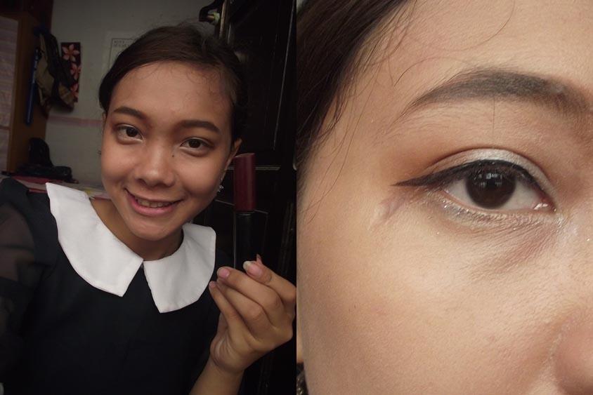 Kasih eyeliner putih & gliter silver dibawah mata, biar lebih POP!