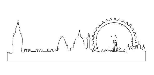 London Skyline Outline Tattoo Templat
