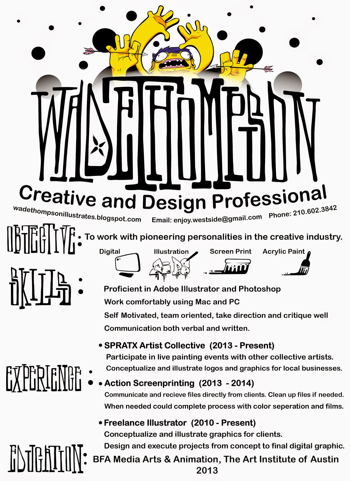 wade thompson illustrator and character designer resume