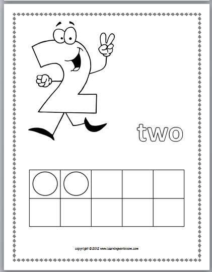 Each page includes the number, the number word, and ten frame . title=