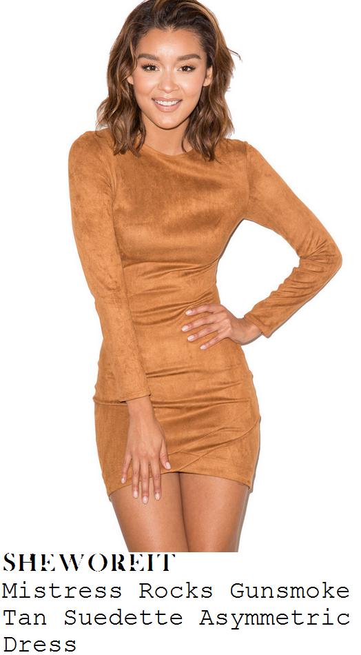 kylie-jenner-tan-long-sleeve-faux-suede-bodycon-mini-dress