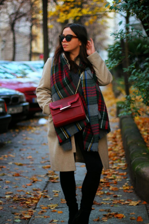 fashion blogger, basics, iheartblack, fashion staples, fall, timeless, outfit, burgundy, berlin, black skinnies, plaid, zara, black, timeless, berlin, Asos, cat eye sunglasses, dior look alike earrings, mango pointy booties