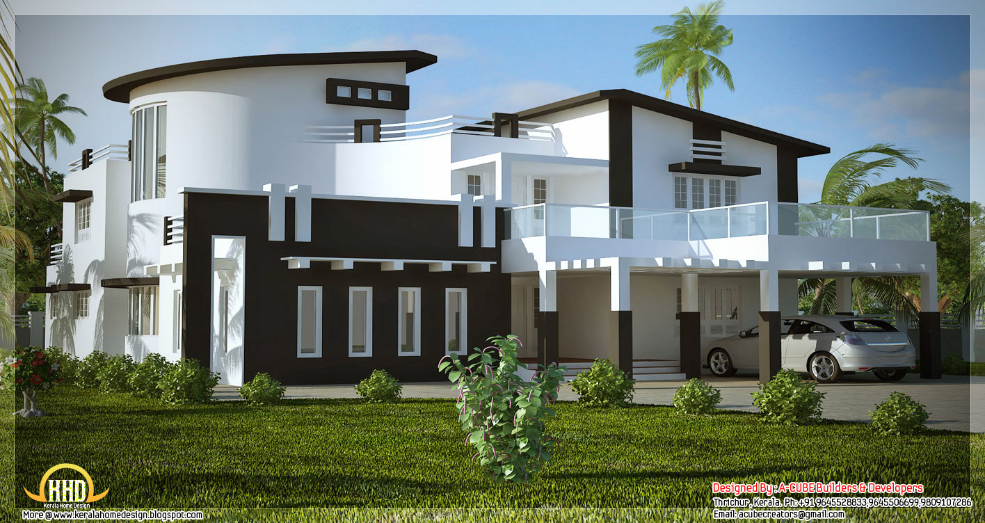 Unique stylish trendy indian house elevation kerala for Indian house elevation photo gallery
