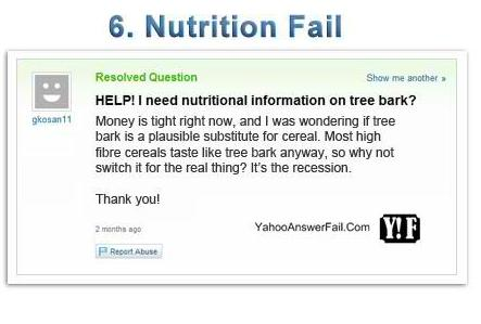 yahoo answers fail - Nutrition Fail