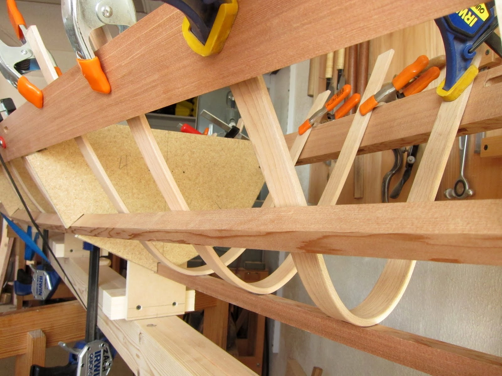 Tim manney chairmaker skin on frame kayak bending in the for Design a frame