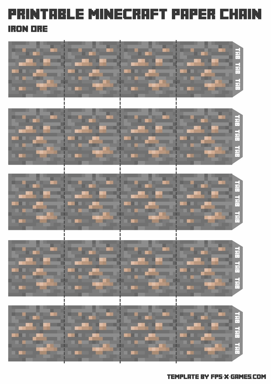 minecraft paper chain template iron ore