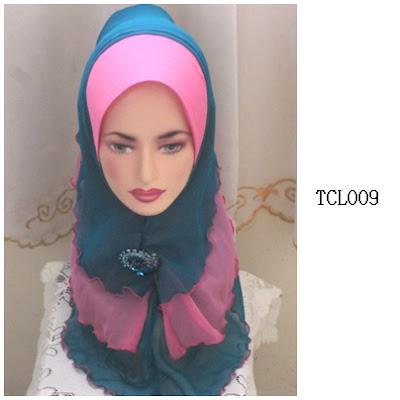 tudung chiffon 3 layer pink turquoise