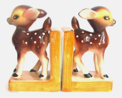 ismoyo's vintage playground - ceramic deer figurine bookends