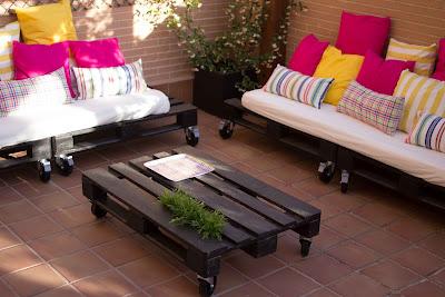 Sof de pal s para la terraza bricolaje for Sofa exterior leroy