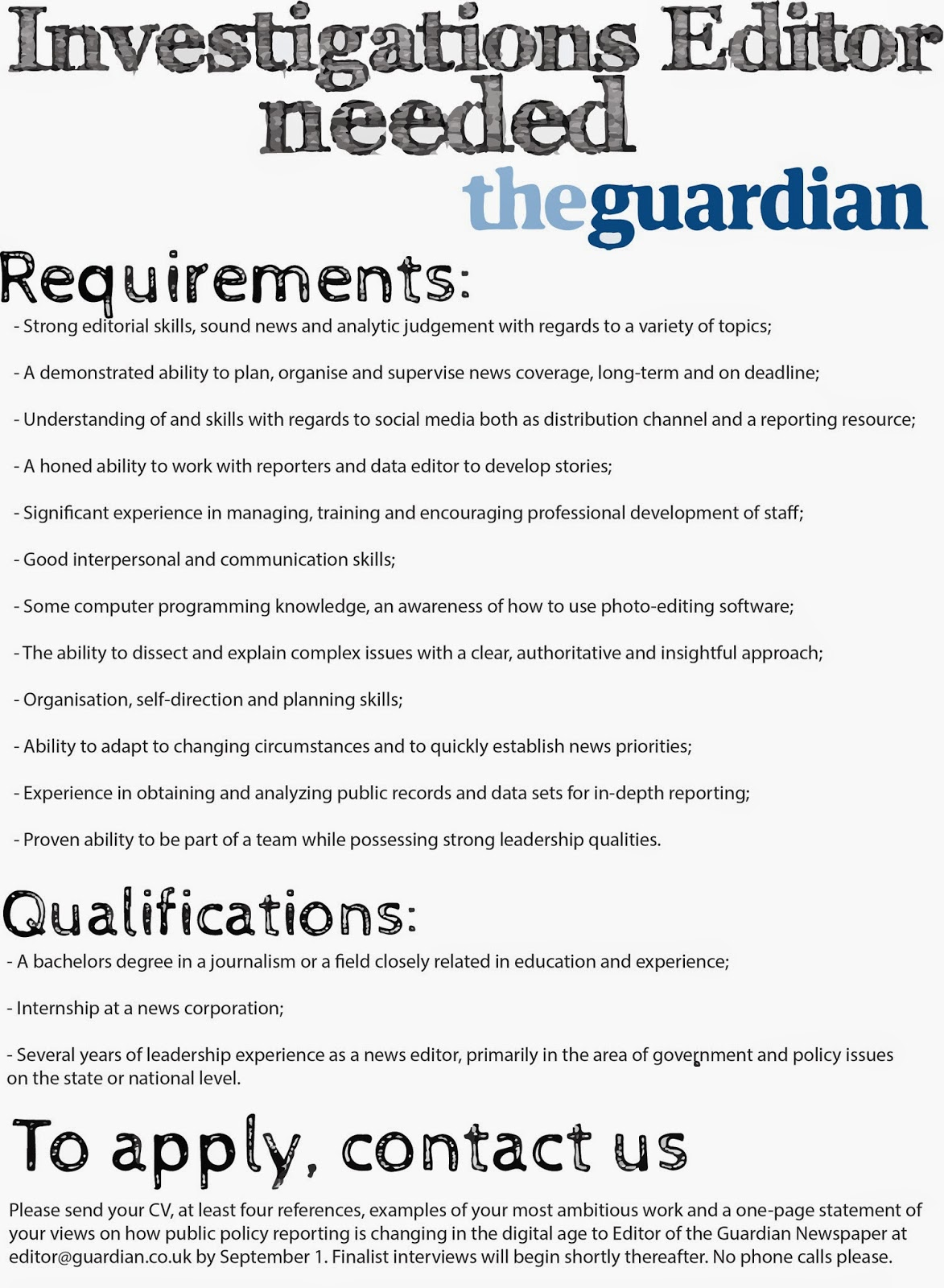 job advert sample