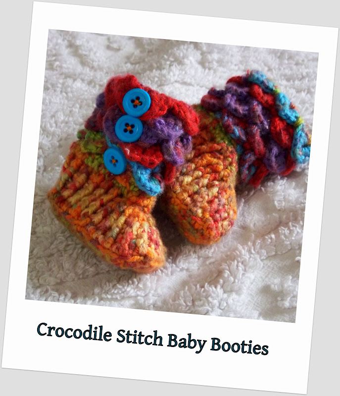 Crochet Pattern For Crocodile Stitch Baby Booties : Yarn Over: Crocodile Stitch Baby Booties