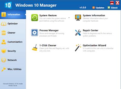 تحميل برنامج Windows 10 manager لصيانة الويندوز