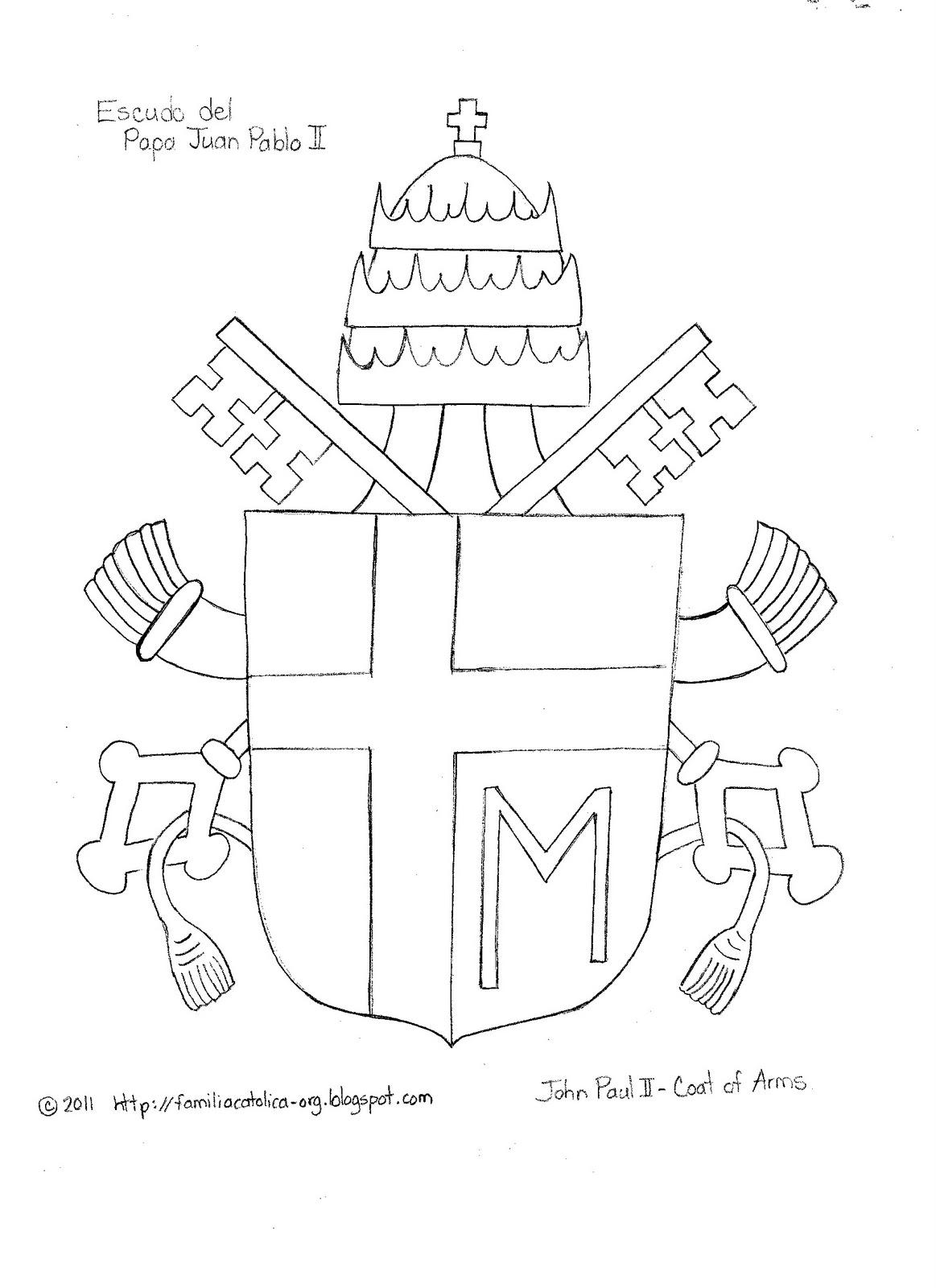 Familia Católica: Escudo para Colorear del Papa Juan Pablo II
