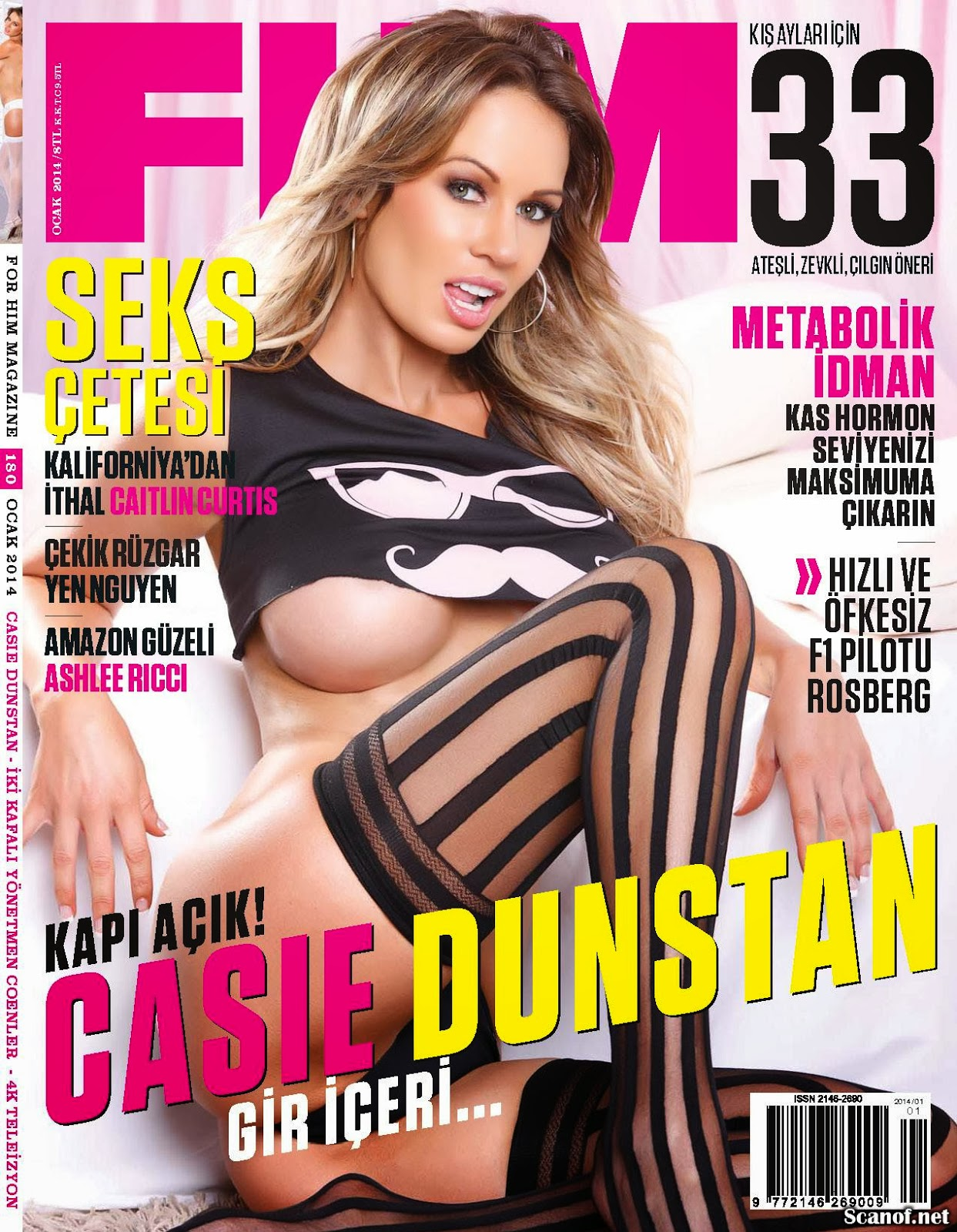 Magazine Photoshoot : Casie Dunstan Photoshoot For FHM Magazine Turkey January 2014 Issue