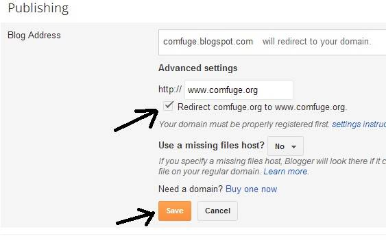 Add Bigrock custom Domain for Blogger account