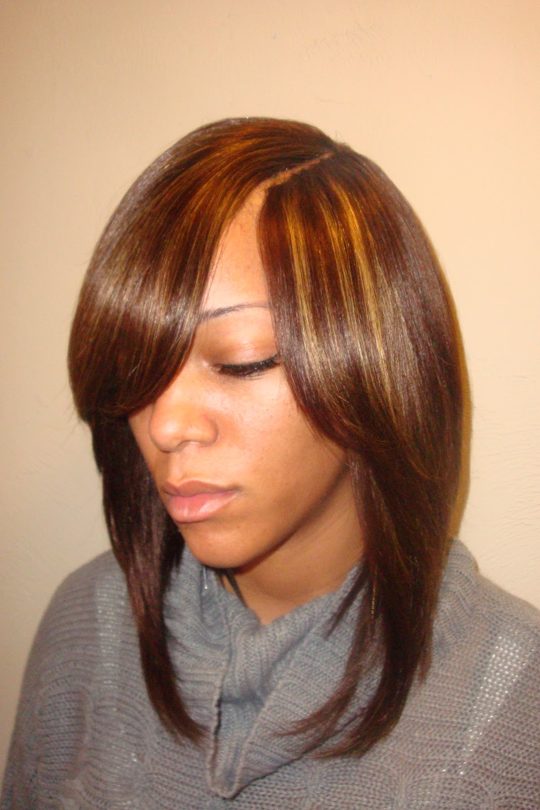Long straight layered bob with invisible part