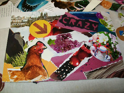mail, mail art, art, envelope, penpals, snail mail, post, that's the way the cookie crumbles, magazine, cutting, ripping, chicken, cow, crazy