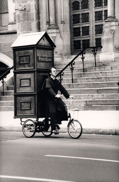 Funny Portable Catholic Church Confessional Joke Picture Priest Bike Toilet Portaloo