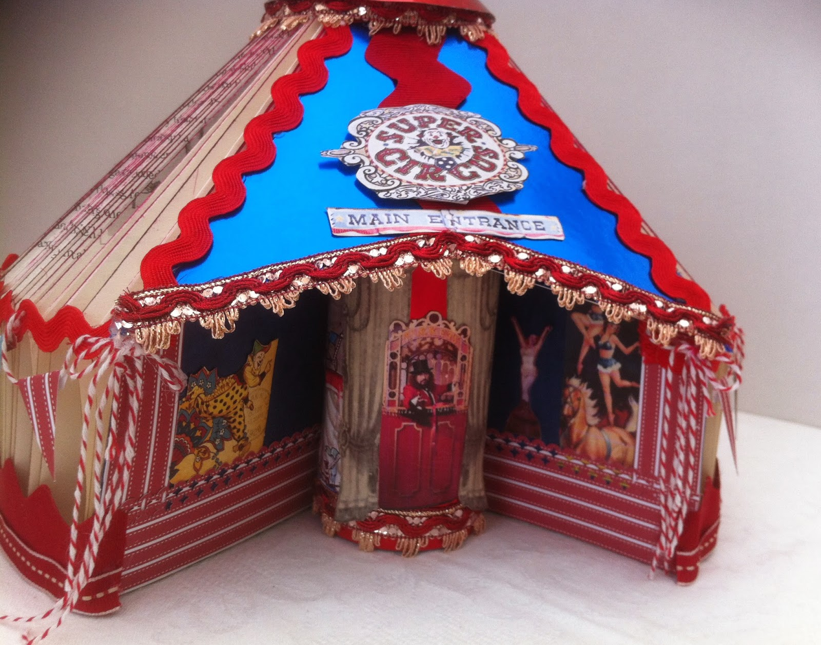 Finished the Circus tent today ready to take to & Cards2Inspire: Circus Tent Made from a Folded Book
