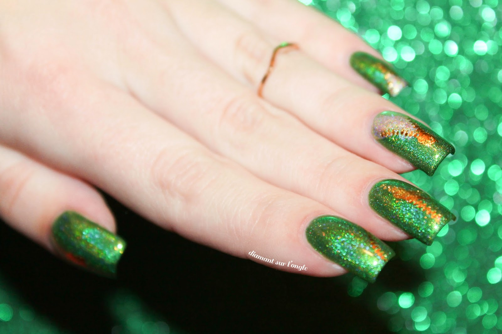 Green Holo Nail Art