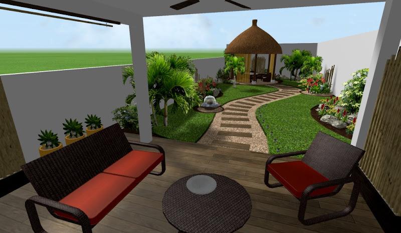diseño de jardin tropical moderno con kiosko para masage spa