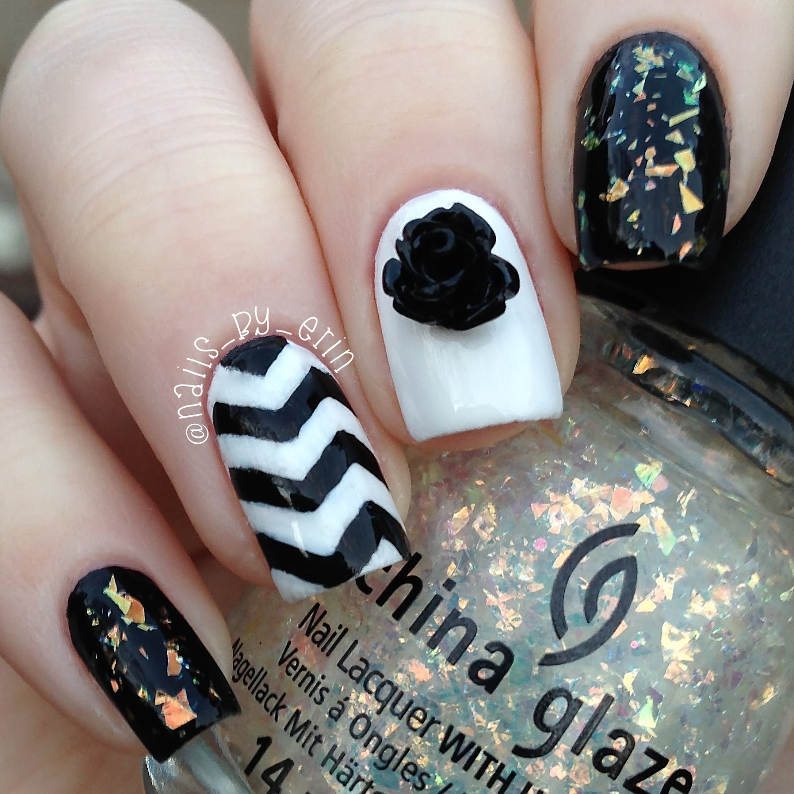 nailsbyerin: black and white chevron nails | born pretty store review