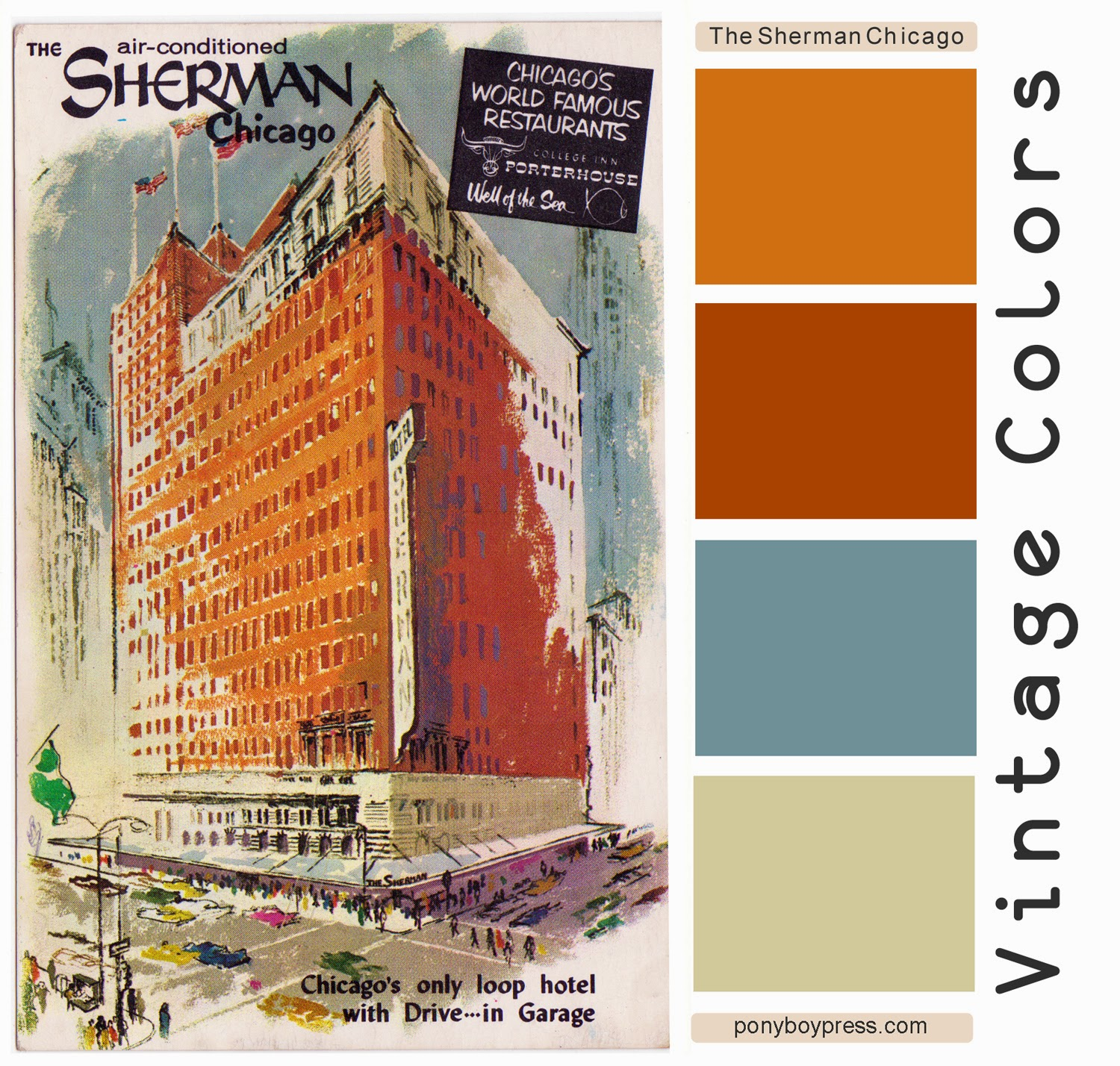 Vintage Color Palette - Mid-Century Advertising Illustration - The Sherman in Chicago. See more with hex codes on the blog. - Ponyboy Press