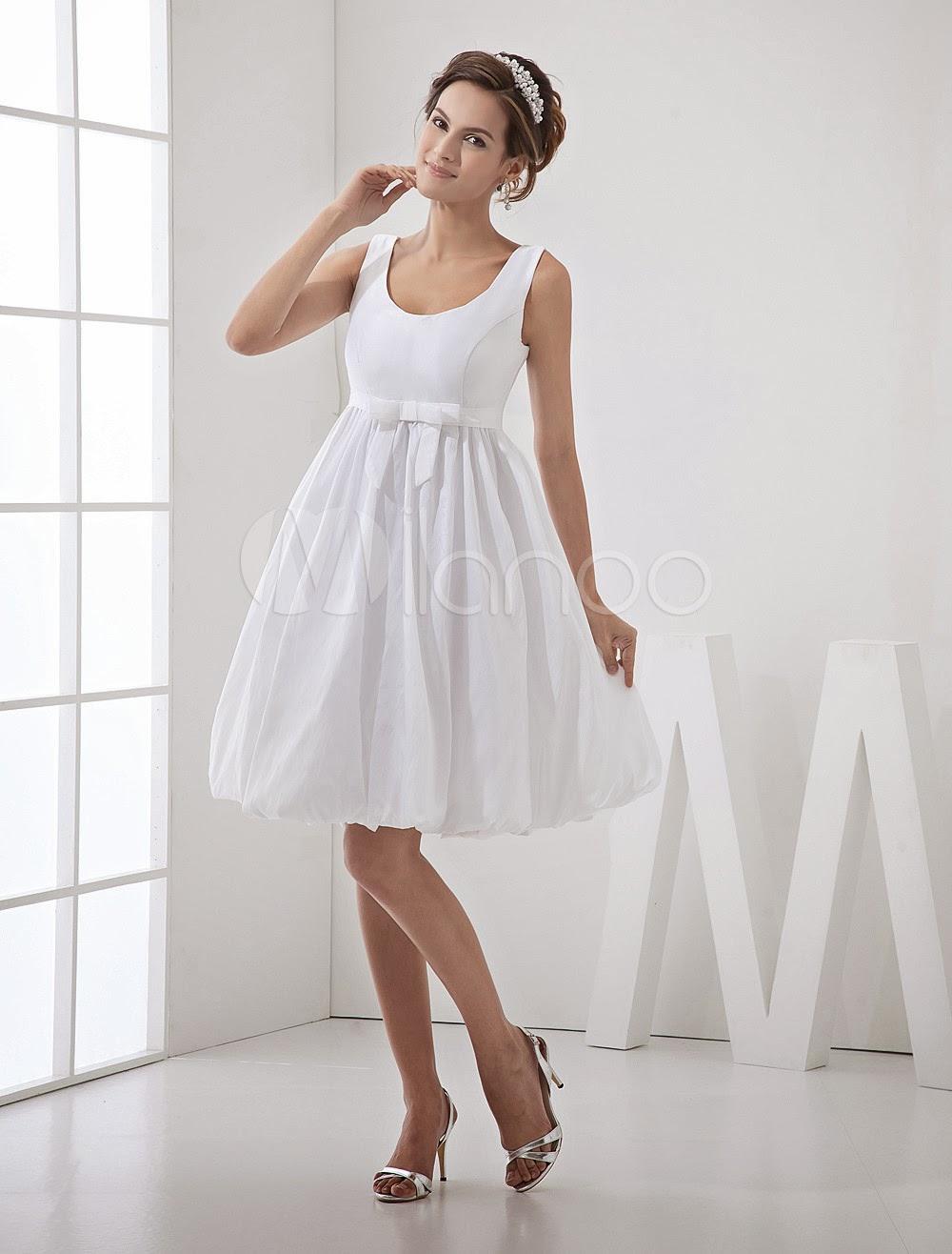 China Wholesale Dresses - Chic White Taffeta Jewel Neck Bow A-line Sleeveless Bridal Wedding Dress
