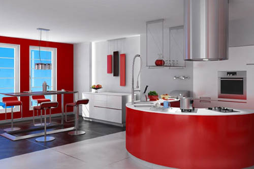 Hogares frescos dise os de cocinas rojas for Cocina roja y negra