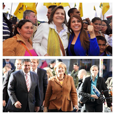 Lookalikes: German Chancellor Angela Merkel and Bogotá mayoral candidate Clara López.