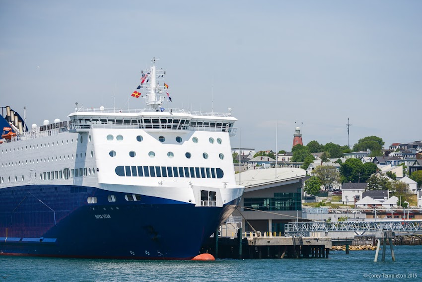 Portland, Maine USA Nova Star ferry docked at Ocean Gateway with Munjoy Hill in background. Photo by Corey Templeton.