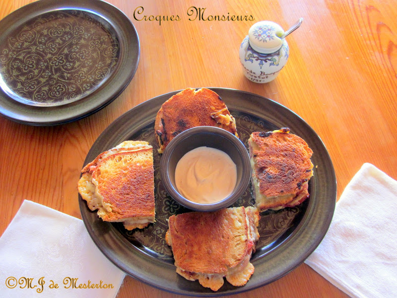 Serve croques monsieurs with mayonnaise and Dijon mustard on the side. title=