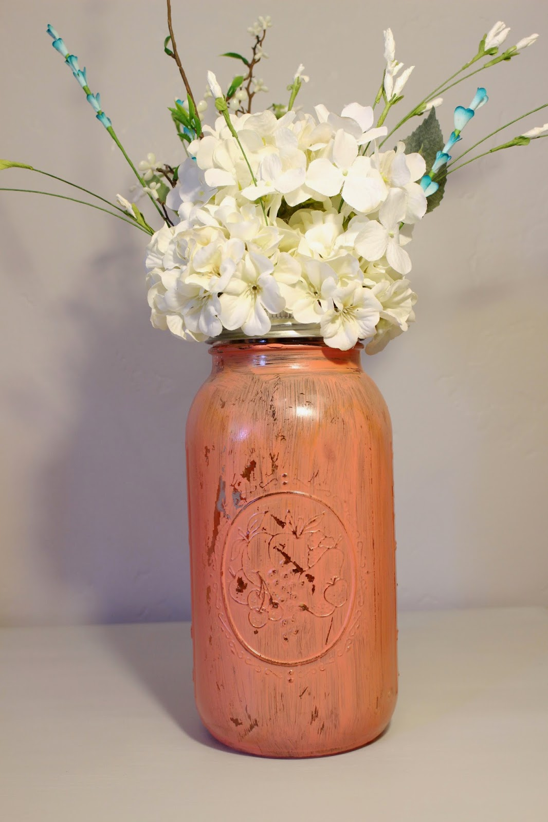 rustic vase, wedding vase, rustic wedding vase, handpainted vase, coastal wedding vase, antique vase, shabby chic vase, distressed vase, wedding decor, rustic wedding decor, rustic wedding centerpiece, coral wedding decor, coral vase, handpainted coral vase, rustic salmon vase, peach vase, rustic coral vase, coral wedding decor, peach mason jar, handpainted mason jar, distressed mason jar, antique peach mason jar, antique coral mason jar, large mason jar, mason jar decor, large painted mason jar, rustic mason jar, rustic peach mason jar