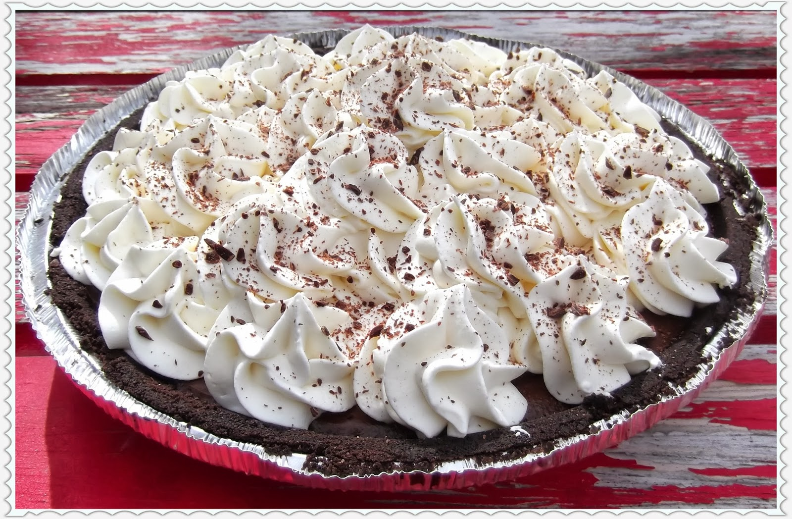 ... Chocolate Cream Pie with Oreo Crust, Whipped Cream and Chocolate
