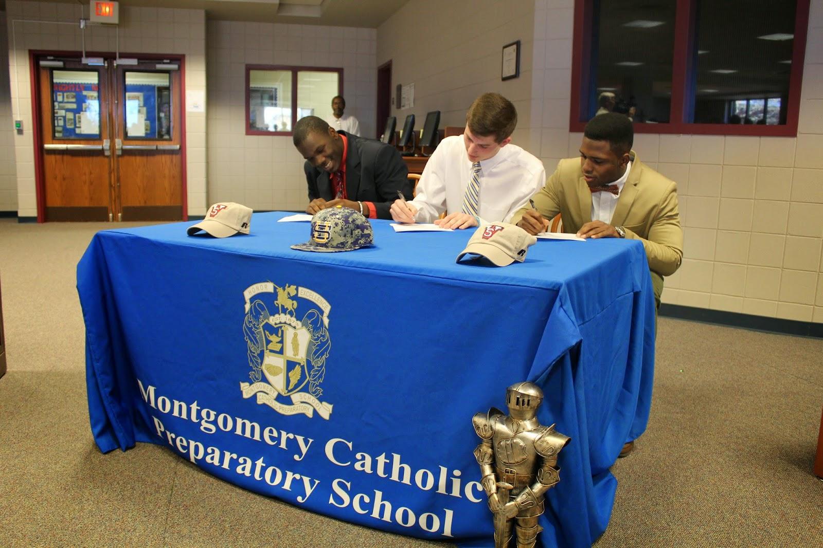 Three Montgomery Catholic Athletes Sign Athletic Commitments February 12 1