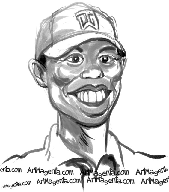 Tiger Woods caricature cartoon. Portrait drawing by caricaturist Artmagenta.