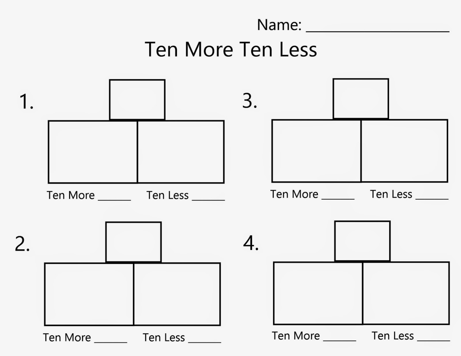Ten More Ten Less Worksheet