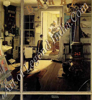 Norman Rockwell (1894-1978) Shuffleton's Barber Shop, Rockwell was a chronicler of everyday America. When painting this picture of the barbers enjoying their tune off, he worked from photographs.