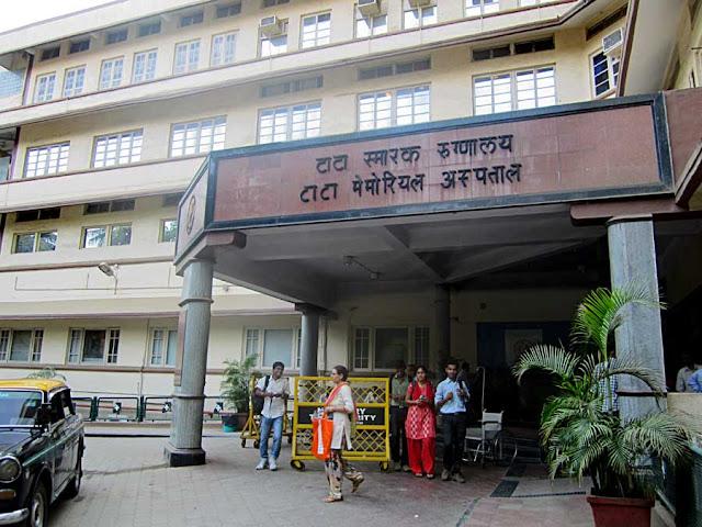 close up of the Tata Memorial Hospital in Mumbai, India