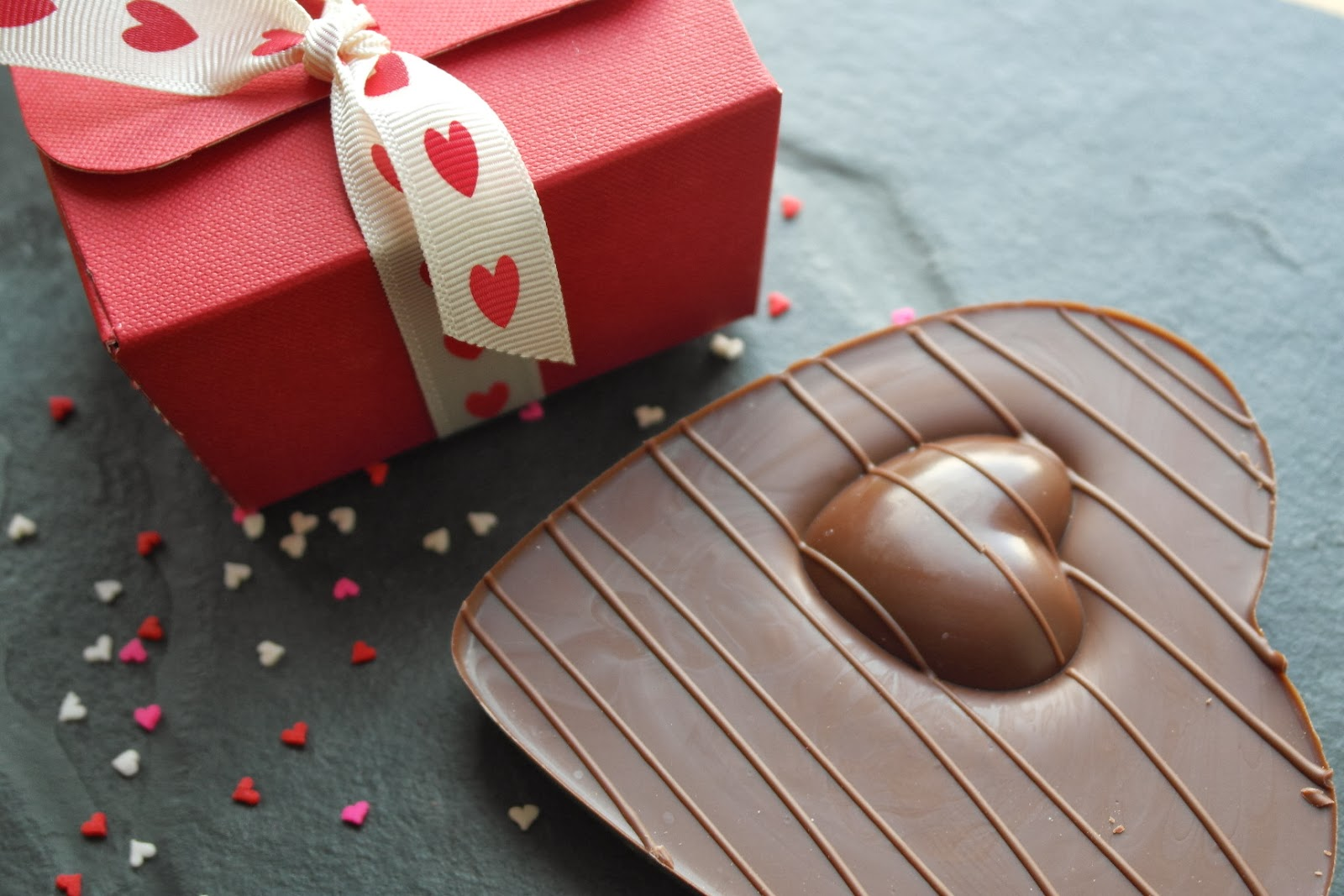 Chocolate hearts, champagne truffles