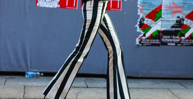 celine trousers, striped trousers, taylor tomasi hill, fashion week, streetstyle
