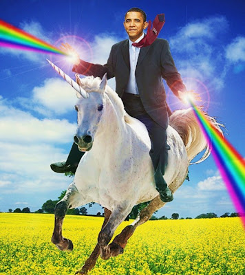Obama on unicorn with rainbows