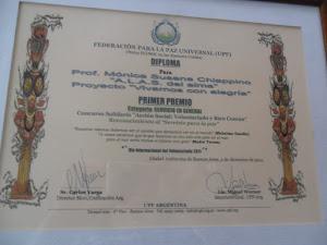PRIMER PREMIO en la categoria SERVICIO EN GENERAL por el proyecto VIVAMOS CON ALEGRIA