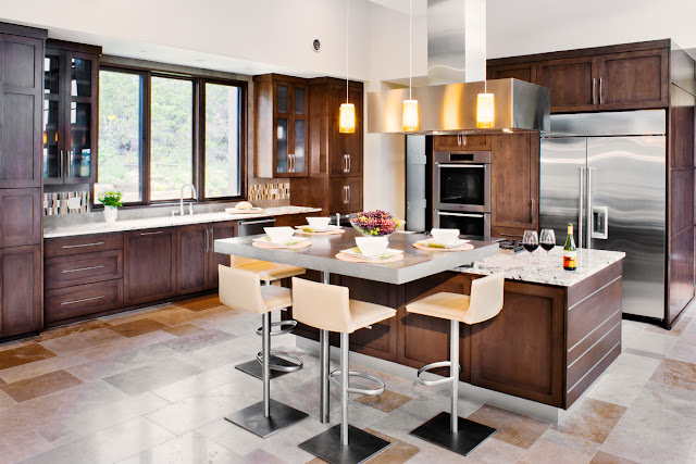 Photo of small dining table in the modern kitchen