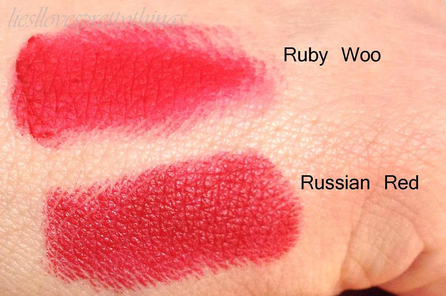 MAC Ruby Woo and MAC Russian Red comparison