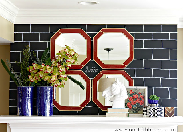 chalkboard bricks mantel