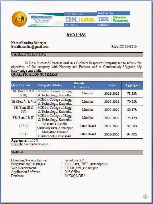 acca affiliate resume sample format for fresher students