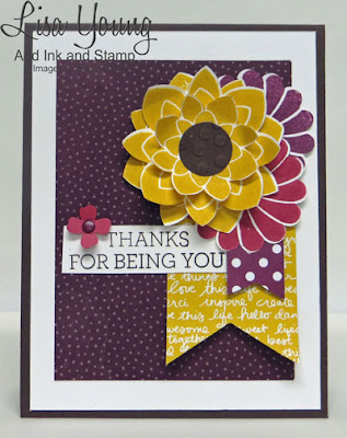 Stampin' Up! Crazy About You stamp set. Autumn colors of purple, yellow, rose. Handmade thank you card by Lisa Young, Add Ink and Stamp