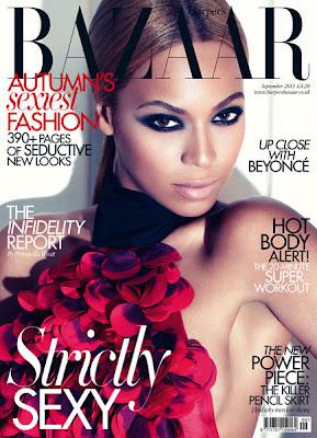 >Beyoncé en couverture du UK Harper's Bazaar September Issue