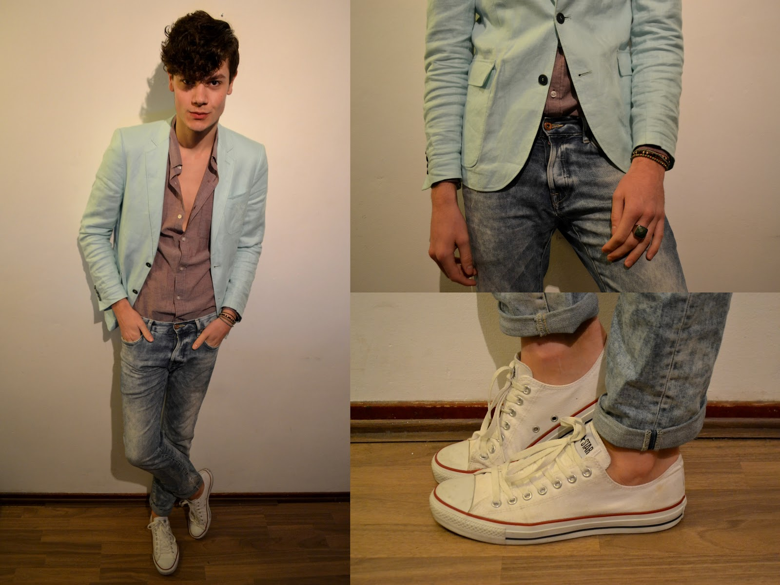 Khaki skinny jeans with converse